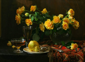 Джузеппе  Муцио. Натюрморт с розами