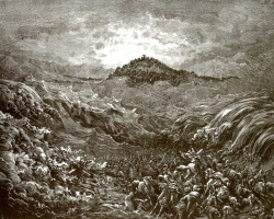 Paul Gustave Dore. Illustration to the Bible: the death of the Egyptians in the red sea