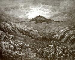 Поль Гюстав Доре. Иллюстрация к Библии: гибель египтян в Чермном море
