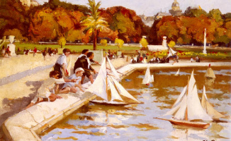 Пол Мишель Дюпюи. Дети, запускающие свои лодки в Люксембургском саду, Париж