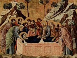Дуччо ди Буонинсенья. Маэста, алтарь сиенского кафедрального собора, передняя сторона, Алтарь со сценами Успения Марии, сцена: Положение Марии во гроб