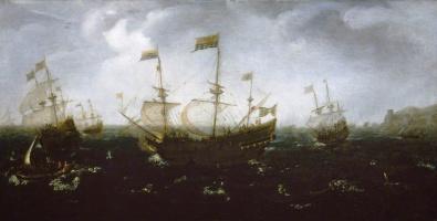 Ян Порселлис. Корабли у побережья в шторм. Переправка на берег