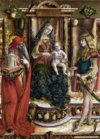 Карло Кривелли. Мария на троне, святой Иероним и святой Себастьян. Алтарь семьи Одони, центральная часть