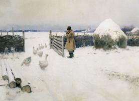 Mikhail Markianovich Hermashev. Snow fell