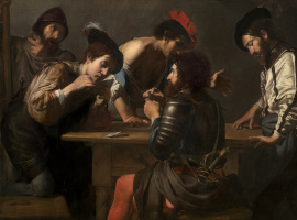 Valentin de Boulogne. Soldiers playing cards and dice (the Cheats)