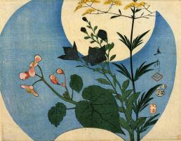 Утагава Хиросигэ. Осенние цветы под полной луной