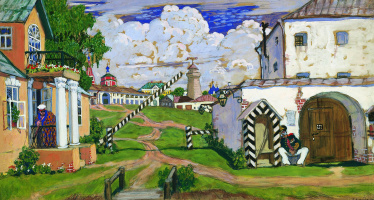 """Boris Kustodiev. Area on the outskirts of the city. Sketch of scenery for the play by A. N. Ostrovsky """"warm heart"""""""