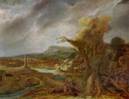 Рембрандт Харменс ван Рейн. Пейзаж с обелиском