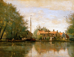 Camille Corot. River landscape in Holland