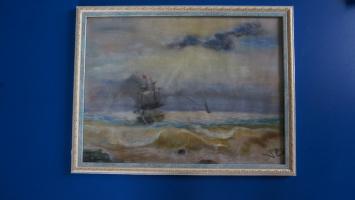 """Unknown artist. Free copy """"Ship near the shore"""""""