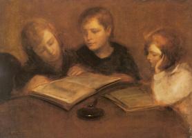 Эжен Каррьер. Читающие девочки