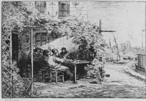 Шарль-Франсуа Добиньи. Серия Альбом путешествия в лодке, Трапеза перед отъездом из Аньера