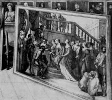 """Венцель Холлар. """"Эсфирь перед Артаксерксом"""" Веронезе, фрагмент картины """"Эрцгерцог Леопольд Вильгельм в своей картинной галерее в Брюсселе"""" Давид"""