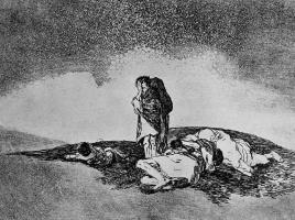 """Франсиско Гойя. Серия """"Бедствия войны"""", лист 60: Никого, кто бы им помог"""