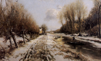 Луи Апол. Зимний лесной пейзаж