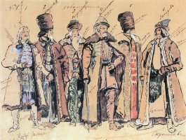 """Konstantin Alekseevich Korovin. Prince Golitsyn and the nobles. Costume design for the Opera by M. P. Mussorgsky """"Khovanshchina"""" at the Mariinsky theater in St. Petersburg"""