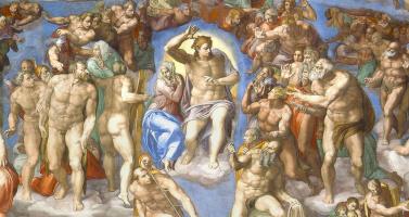 Микеланджело Буонарроти. Страшный суд. Фрагмент: Первое кольцо персонажей вокруг Христа и Марии