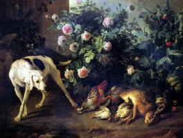 Александр Франсуа Депорт. Натюрморт с собакой и битой дичью у розового куста