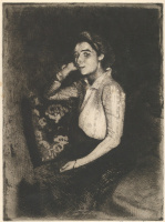 Paul Albert Benar. The girl from Biarritz. 1901 etching