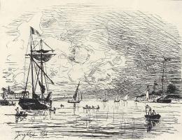 Ян Бартолд Йонгкинд. Выход из гавани Онфлёра
