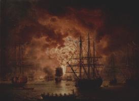 Якоб Филипп Хаккерт. Гибель турецкого флота в сражении при Чесме