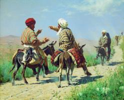 Василий Васильевич Верещагин. Мулла Рахим и мулла Керим по дороге на базар ссорятся