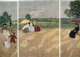 Жан Эдуар Вюйар. Триптих. Летний день в саду: Няня. Беседа. Красный зонт