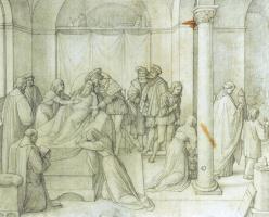 Иоганн Фридрих Овербек. Смерть Леонардо да Винчи на руках Франциска I Франц. 1816