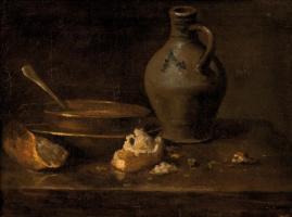 Жан Батист Симеон Шарден. Натюрморт с тарелкой, кувшином и остатками хлеба