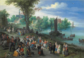Dancing figures on a river with a fish and a portrait of the artist in the foreground
