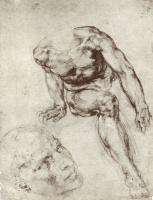 Микеланджело Буонарроти. Сидящий обнаженный и этюд головы