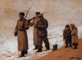 Николай Александрович Ярошенко. Арестованного ведут. 1891 Картон коричневый, белила.