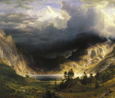 Альберт Бирштадт. Шторм в Скалистых горах, гора Розали. Фрагмент