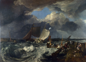 Joseph Mallord William Turner. They say in Calais. French fishermen put out to sea, comes a British passenger ship