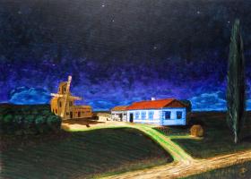 Дмитрий Ерёменко. Cossack village in full moon