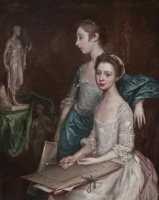 Thomas Gainsborough. Portrait of the artist daughters, Molly and Peggy with drawing supplies