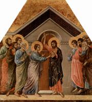 Дуччо ди Буонинсенья. Маэста, алтарь сиенского кафедрального собора, оборотная сторона, Неверие Фомы
