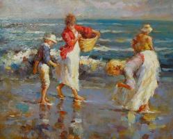 Виндфелдт. Женщина с корзиной на пляже