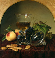 Johann Wilhelm Prairie. Still life with goblet, fruit and biscuits. 1836