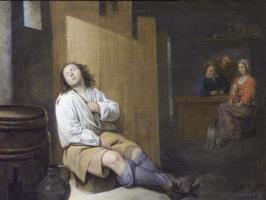 Давид Рейкарт. Интерьер таверны со спящим  молодым человеком и фигурами сидящими за столом