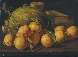 Луис Мелендес. Натюрморт с апельсинами, дыней и коробками