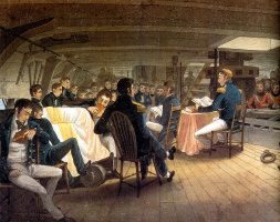 Огастус Эрл. Богослужение на борту британского фрегата