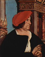 Hans Holbein The Younger. Mayor of Basel, Jacob Meyer, and his wife, Dorothea Kannenhizer. Diptych. Portrait of Jacob Meyer