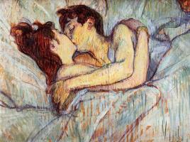 Анри де Тулуз-Лотрек. В постели: поцелуй