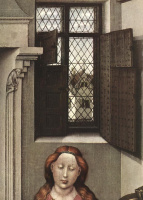 Робер Кампен. Мадонна с младенцем Христом у камина. Правая створка диптиха. Фрагмент