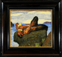 Franz von Pieces. Faun playing the flute by the sea