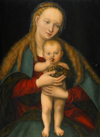 Лукас Кранах Младший. Мадонна с Младенцем и виноградом.