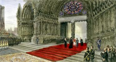 Павел Яковлевич Пясецкий. Посещение императорской четой Реймского собора