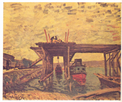 Alfred Sisley. The construction of the bridge
