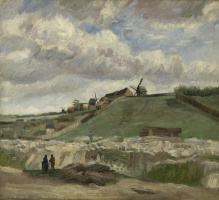 The hill of Montmartre with quarry and mill